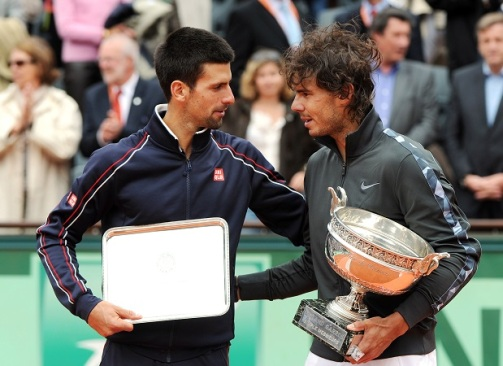 Paris,Monday 11/06/ 2012 World N.2 Rafa Nadal won his 7th French Open Title after defeating World N.1 Novak Djokovic (SRB) Novak Djokovic 6-4, 6-3, 2-6, 7-5. Play was interrupted Sunday due to rain at 6:42 PM when Nadal was leading 6-4, 6-3, 2-6, 1-2.Djokovic double-faulted on match point to give Rafael Nadal his seventh title. Photo Ray Giubilo